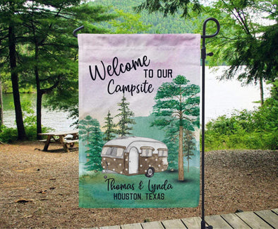 Personalized Welcome To Our Campsite with Your Name Garden Flag #V