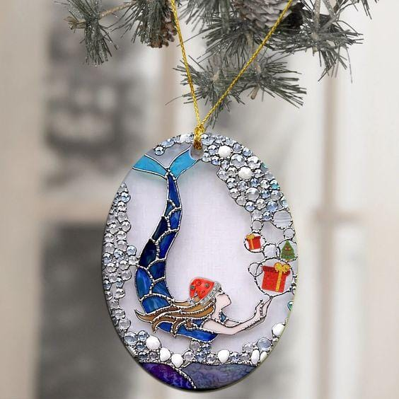 Mermaid Bling Christmas Ornaments