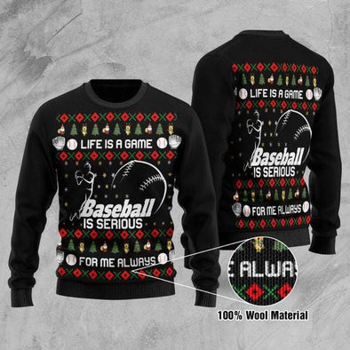 Baseball Is Serious Christmas Sweater