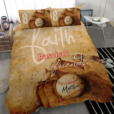 Baseball Faith Friends Custom name Duvet Cover Bedding Set #810L