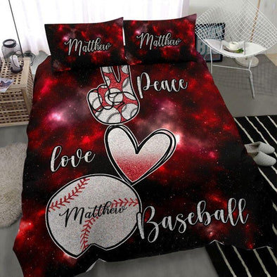 Peace Love Baseball Custom Name Duvet Cover Bedding Set #810l