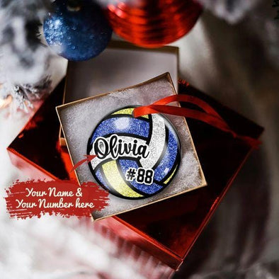 Personalized Volleyball Ball Round Ornament with Name And Number
