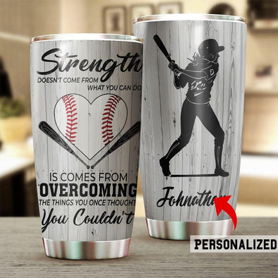 Strength Softball Custom Name Tumbler Cups 20 Oz Stainless Steel
