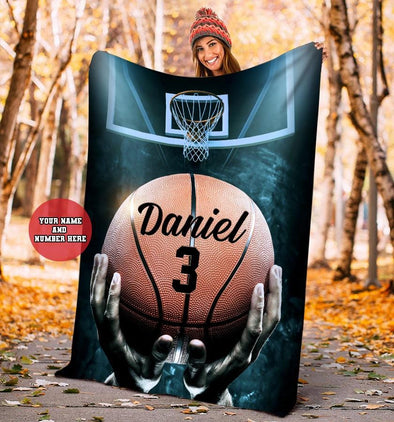 Personalized Basketball Court Custom Name Blanket