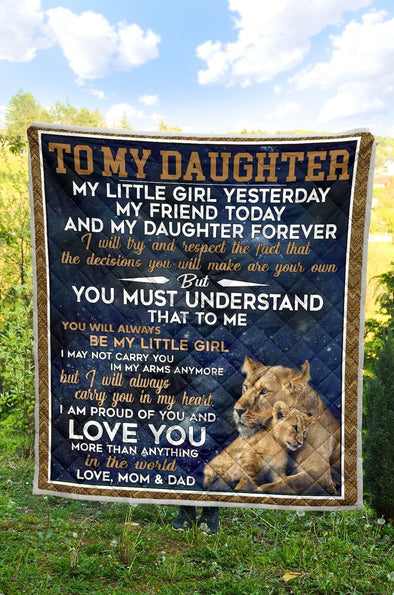 Lion King To My Daughter, I am proud of you from mom and dad blankets Custom name #V