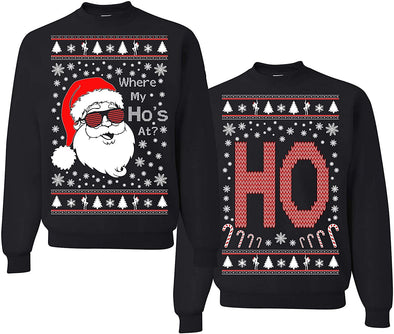 Where My Ho's at? Funny Ugly Christmas Matching Couple Sweatshirt #H