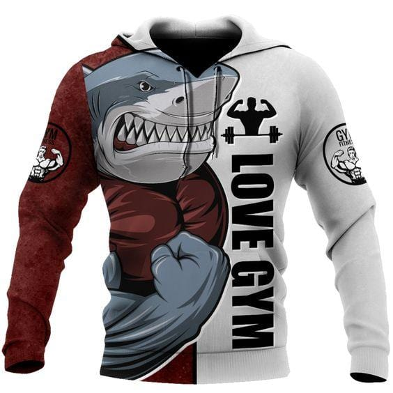 Shark Love Gym Hoodie 3D All Over Print