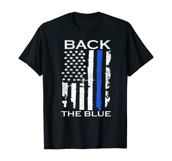 Thin Blue Line American Flag Police Support Back the Blue T-Shirt #0708HL