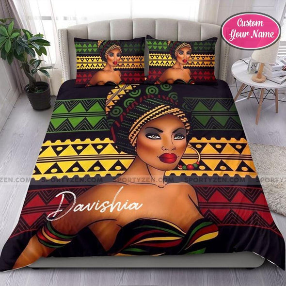 Head Wrap Traditional Black Woman Africa Custom Duvet Cover Bedding Set with Your Name #58dh