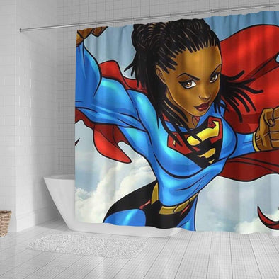 African Superwoman Strong Black Girl Bathroom Shower Curtain