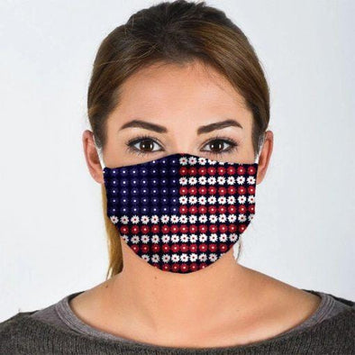 Daisy Flower American Flag Full printed Face Mask #H