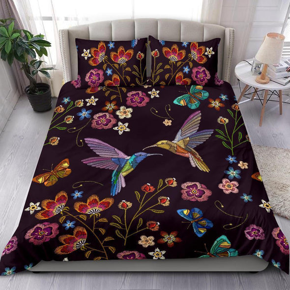 Couple Hummingbird with flower Custom Name Duvet Cover Bedding Set #H
