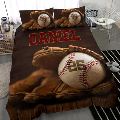 Baseball Glove and Ball Custom Duvet Cover Bedding Set with Your Name