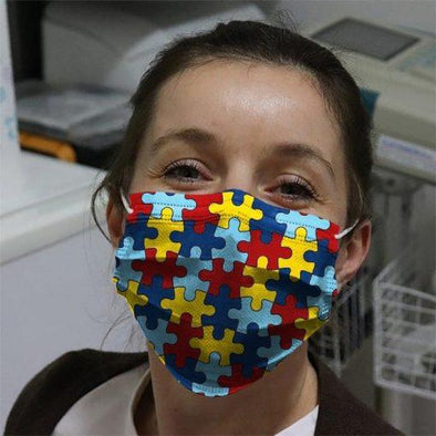 Autism Awareness Puzzles Full printed Face Mask #HL