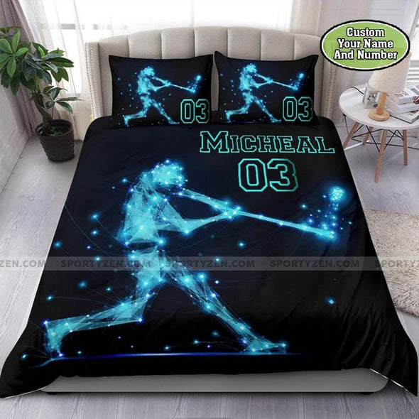 Baseball Line Player Custom Duvet Cover Bedding Set with Your Name and Number #1008DH