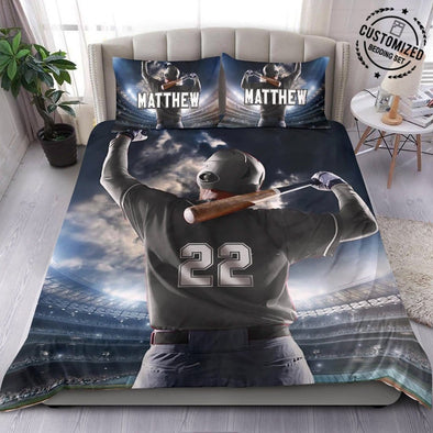 Back of Baseball Player Custom Duvet Cover Bedding Set with Your Name