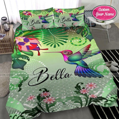 Beautiful Hummingbird Custom Duvet Cover Bedding Set with Your Name #48DH
