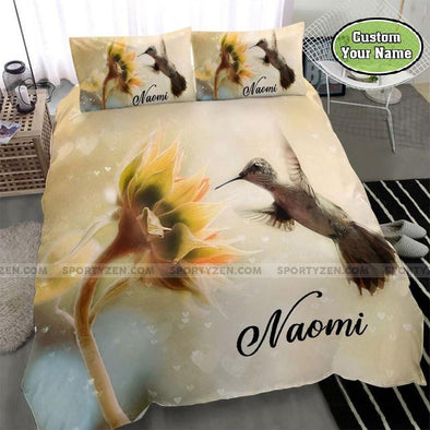 Sunflower and Hummingbird Custom Name Duvet Cover Bedding Set #1208DH
