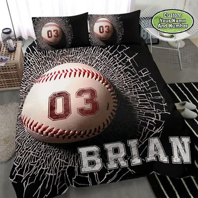 Baseball Breaking Ball Custom Duvet Cover Bedding Set with Your Name and Number #1410DH