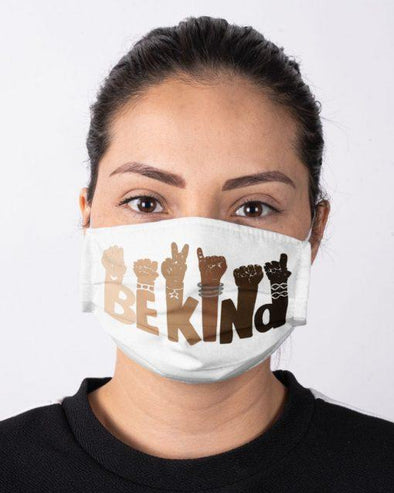 Be Kind Hand Sign Language Full printed Face Mask #HL