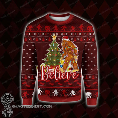 Bigfoot Believe ugly custom name sweater wool #V