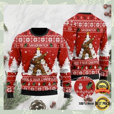 Bigfoot hide and seek champion ugly sweater custom name sweater wool #V