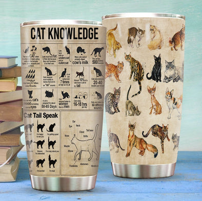 Cat Knowledge Stainless Steel Tumbler with Your Name #V