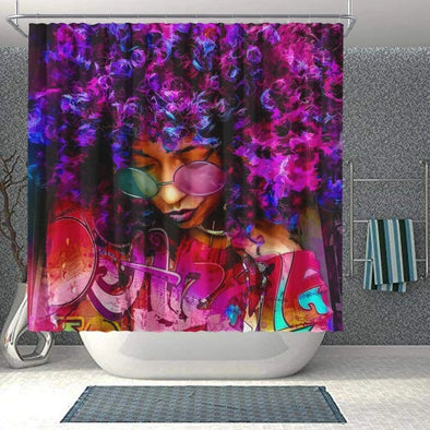African Dope Art Afro Black Woman Bathroom Shower Curtain #v