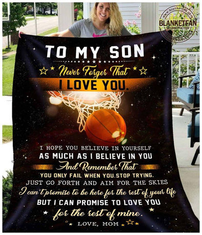 Basketball To My Son I Love You Fleece Blanket