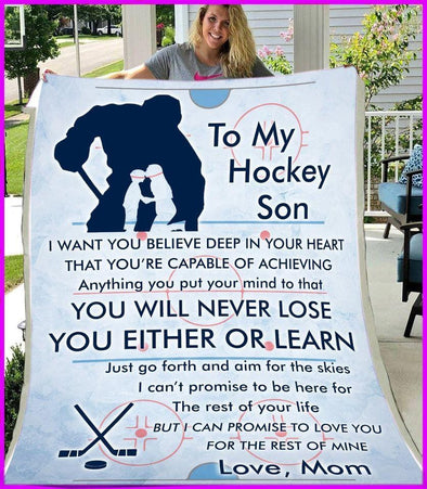 To My Hockey Son Love Mom Customized Blanket With Name