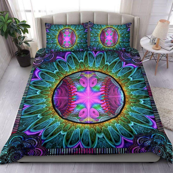 Colorful Softball Hippie Mandala Custom Duvet Cover Bedding Set with Your Name #114h
