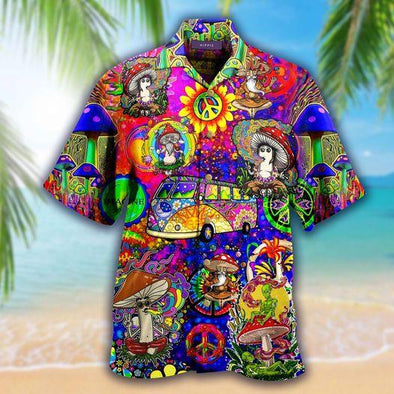 Colorful Hippie World Hawaiian Aloha Shirts