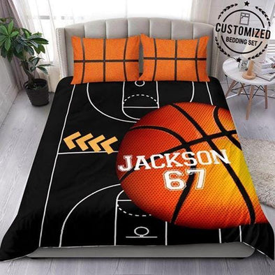 Basketball Yard Black Custom Name Duvet Cover Bedding Set