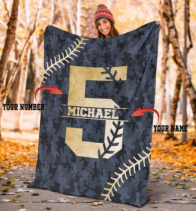 Custom name and number Camo Pattern Blanket