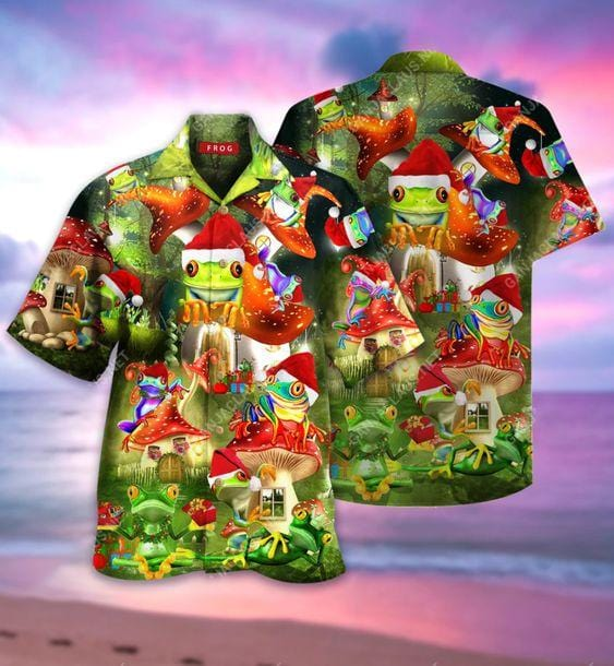 Hawaiian Aloha Shirts Amazing Christmas Frog Light