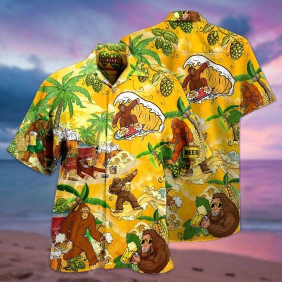 Hawaiian Aloha Shirts BigFoot Beer Surfing
