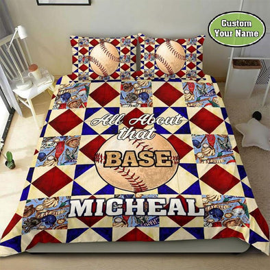 Baseball All About That Base Custom Duvet Cover Bedding Set with Name #710DH
