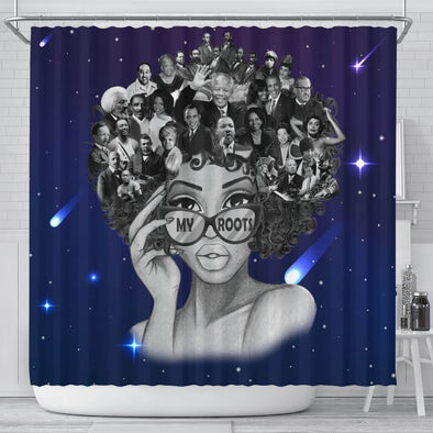 African American My Root Afro Black Girl Bathroom Shower Curtain