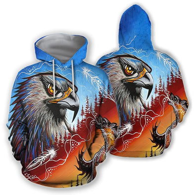 Native American Hawk And Fire Wolf King Hoodie 3D All Over Print #DH