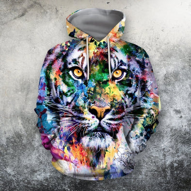 Colorful Tiger Hoodie 3D All Over Print