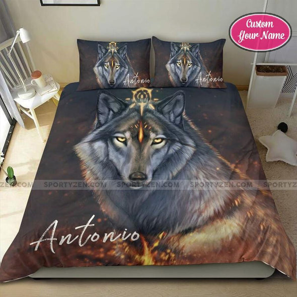 King of Wolf Custom Duvet Cover Bedding Set with Your Name #308dh