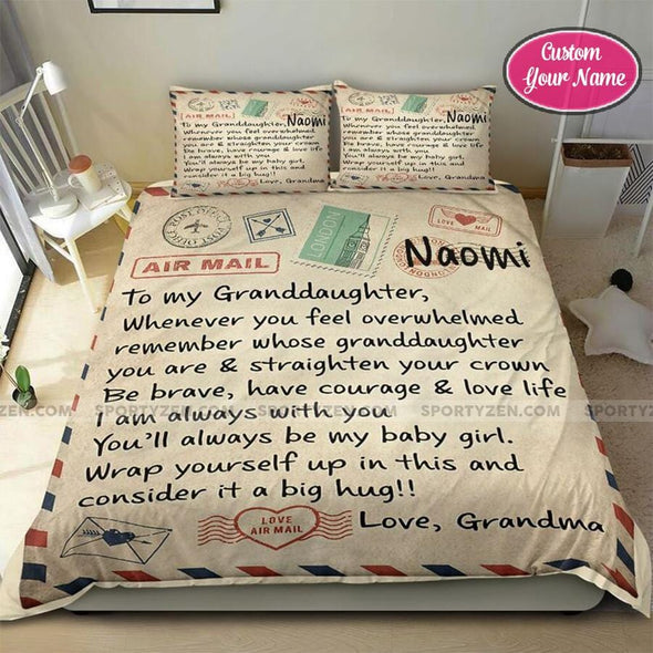 LetterTo my Granddaughter, Love Grandma Custom Name Duvet Cover Bedding Set #48DH