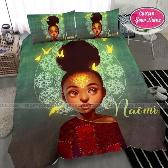 Traditional Little Black Girl With Butterfly Custom Duvet Cover Bedding Set with Your Name #68dh