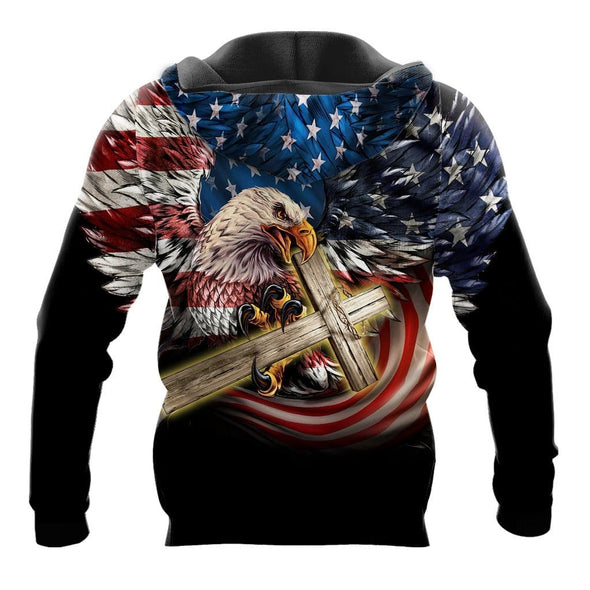 USA Flag Eagle Bring Cross Black Hoodie 3D All over print