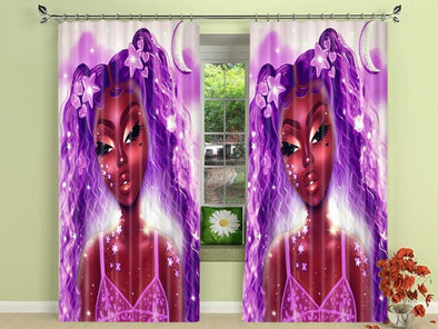 Black Girl All Purple Window Curtains #809V