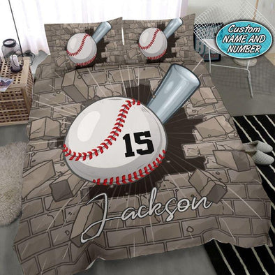 Baseball Breaking Wall Custom Duvet Cover Bedding Set with Name #710V