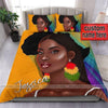 Black Girl African Custom Name Duvet Cover Bedding Set #2506V