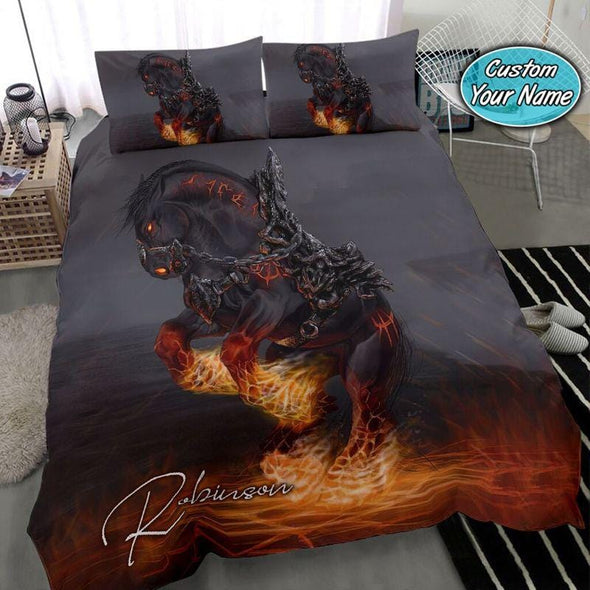 The fire horse is tied Custom Duvet Cover Bedding Set with Your Name #308v