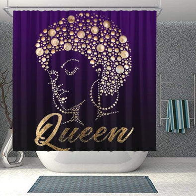 African Afro Black Queen Diamond Bathroom Shower Curtain