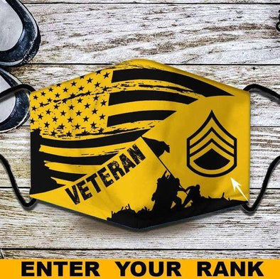 American Flag Veteran Custom Rank Full printed Face Mask #HL